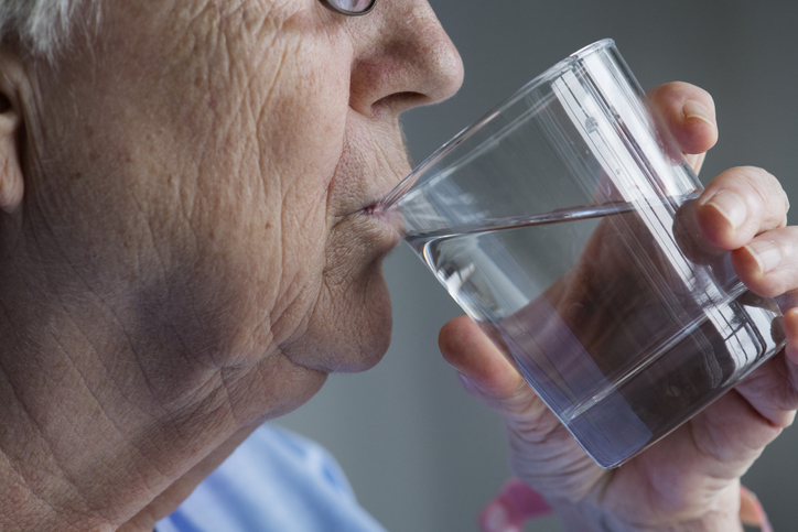 Make sure that elderly clients drink plenty of water throughout the day